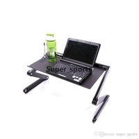 Wholesale Office Desk Free - 360 Degree Portable Folding Black Metal Laptop Notebook Computer Stand Table Desk Bed Office Sofa Tray Free Shipping Aluminum Alloy