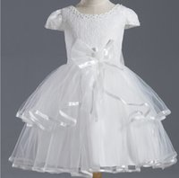 Wholesale lace edging ribbon for sale - Group buy White A Line Scoop Lace Top Capped Sleeve Organza Ribbons Edge Flower Girl Dresses Knee Length Girl Party Gown
