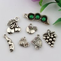 Vendas quentes! 140PCS Antique Antique Silver Zinc Alloy Mixed Pods Apple Grapes Etc Charms Pingentes Jóias DIY