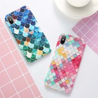 Wholesale Girly Iphone Covers - For iPhone X 7 6 6S Plus Case Mermaid 3D Scales Cases Girly Back Cover For iPhone 8 6 6S 7 Plus