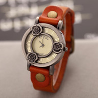 cajas de relojes vintage al por mayor-Vintage Flower Bronze Case Watch Ladies Dress Relojes Retro Cowhide Correa de cuarzo reloj analógico relojes de pulsera para mujeres