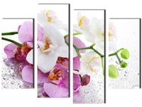 Wholesale Orchids Canvas Oil Painting Sets - Free shopping Beautiful butterfly orchid 4 Panels Set HD Canvas Painting Artwork, Wall Art Picture painting