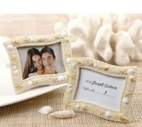 Wholesale Wedding Card Themes - Beach Theme Seaside Sand and Shell Resin Wedding Place Card Holder Mini Photo Frames Gift Free Shipping MYY