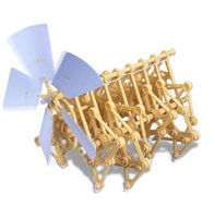 Wholesale Wind Power Build - Yellow Wind Powered Plastic Robot Toy DIY Walking Walker Strandbeest Assembly Model Building Kits Kids Gift Hot DIT toy