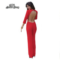 Wholesale Womens Jumpsuits Rompers - Plus Size Women Red Jumpsuit Backless Sexy Full Sleeve Rompers Womens Jumpsuit Skinny Bodysuit Macaquinho
