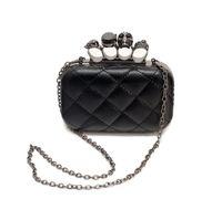 Wholesale Knuckle Ring Clutches - Wholesale-new vintage Skull purse Black Skull Knuckle Rings Handbag Clutch Evening Bag The chain inclined shoulder bag js290
