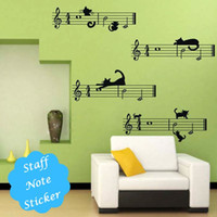Wholesale Musical Notes Wall Stickers - [funlife]-60x80cm(24x31.5in) Musical Notes Naughty Black Cats Vinyl Wall Decal Classroom Personality Sticker Decor (L1000199)