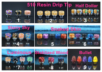 Wholesale Skins Half - 9 Styles 510 Thread Epoxy Resin Drip Tip Wide Bore Mouthpiece Snake Skin Starry Sky half dollar luminous Stabilized Wood for TFV8 Baby