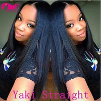 Wholesale New Yaki - 2018 New Arrival!!Top Quality Brazilian Virgin Human Hair Lace Front Wig Yaki Straight Full Lace Wigs for Women Color#1b #1 #2 #4