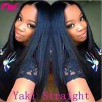 Wholesale Brazilian Yaki Hair 1b - 2018 New Arrival!!Top Quality Brazilian Virgin Human Hair Lace Front Wig Yaki Straight Full Lace Wigs for Women Color#1b #1 #2 #4