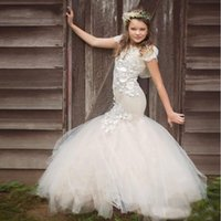 Wholesale Blue Gothic Wedding Dresses - Newest 2017 Ivory Applique Mermaid Flower Girl Dresses For Wedding Party Tulle Floor Length Gothic Kids Communion Pageant Gown