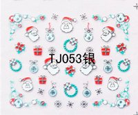 Wholesale Merry Christmas Nail - Gold Silver Nail Sticker Merry Christmas Xmas Water Transfer Decals Stamp Nail Art Decorations Watermark Snow Tips