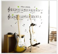 1SET Grande Taille 70 * 120cm Musique Sticker Music Is My Life Theme Music Bedroom Decor Danse Musique Remarque amovible Autocollant Mural