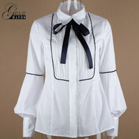 Wholesale Ladies Cotton Office Wears - Autumn Female Long Sleeve Slim Shirts Women Office Wear Bow Tie Necktie Lantern Sleeve With Button Lady Elegant Winter Shirt Blouses