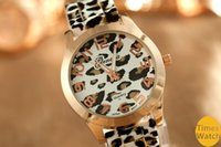 Wholesale Geneva Silicone Print Watches - Free Shipping New arrival geneva women dress watches leopard print silicone watch gold watches ladies jelly casual watch