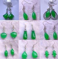 Wholesale Pendant Earings - Tibet Silver Green Jade Malay jade pendant Dangle Necklace Girl Boy Chandelier 925 Silver Earings Bridal Jewelry for wedding dress