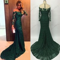 Wholesale Plus Size Maxi Dresses Sale - hot sale 2016 Emerald Green Mermaid Lace Evening Dresses Custom Made Plus Size Long Sleeves Women Prom Dress Gowns Maxi Formal Wear Cheap