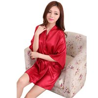 Wholesale Lingerie Short Robes - Ladies womens Solid plain rayon silk short Robe Pajama Lingerie Nightdress Kimono Gown pjs Women Dress elegant 9colors #3966