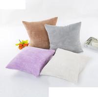 Wholesale velvet cushions wholesale - New Striped Plush Velvet Pillow Case Solid Soft Corduroy Home Sofa Car Cushion Cover 45*45cm 100pcs OOA3641