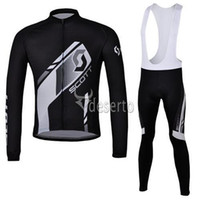 Wholesale Scott Pants - New Arrival Scott Team Cycling Jersey Set Long Sleeve Black Shirt and Bib Pants High Quality Team Cycling Clothing