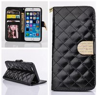 Wholesale Iphone 4s Flip Bling Cover - For iphone 6 Flip Photo Frame Leather Case For iphone 6 Plus 5S 4S Luxury Diamond bling Flip Wallet Credit Card Holder Cover