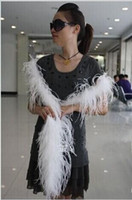 Wholesale Wholesale Ostrich Feathers Boas - 200CM long ostrich Feather Strips Wedding party Marabou Feather Boa DIY Stage Cosplay Props Fashion Scarf 5 Color to choose