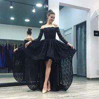 einzigartige elegante abendkleider großhandel-Einzigartige schwarze Spitze High Low Off Shoulder Abendkleider 2018 Formal Gown Langarm Elegant Party Abendkleider