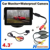 kablosuz dikiz otoparkı monitörü toptan satış-4.3 Inç Araba Monitör Su Geçirmez Dikiz Kamera Monitör Mini 2.4 GHz Kablosuz Park Dikiz Kamera 2 Videolar Giriş Sistemi