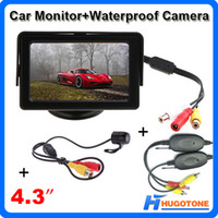 Wholesale Car Video Camera Parking System - 4.3 Inch Car Monitor Waterproof Rearview Camera Monitor Mini 2.4GHz Wireless Parking Rearview Camera 2 Videos Input System