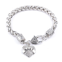 Wholesale silver bracelets online - MOM SISTER MIMI NANA Family Member Fashion Heart Women Bracelet Top Quality Hot sterling silver jewelry ZJ
