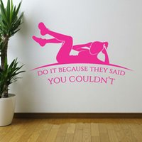 Wholesale Life Sayings - Fitness Patten Wall Art Sticker do it because they said you couldn't Quote Decal Home Decoration Decor Wall Mural