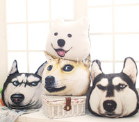 Wholesale Husky Car - Wholesale-Free Shipping 3D A Car Head Pillow Husky Samoyed God Tired Dog Who Cushion Plush Toys Creative Christmas Birthday Gift