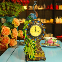 Wholesale Desk Resin Craft - MOQ: 1 piece! Free shipping new design colorful resin peacock desk clock  resin desk craft decoration