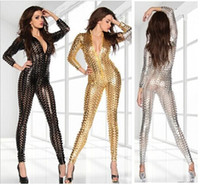Wholesale Blue V Neck Jumpsuit - New Sexy Jumpsuit Blue,Black,Gold,Silver Women Jumpsuit V-neck Hollow out Playsuit bodycon bodysuit,leather catsuit 4 color free ship