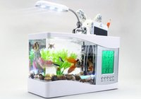 Wholesale Usb Tank Aquarium - 2015 Christmace Gifts !! Mini USB LCD Desktop Lamp Light Fish Tank Aquarium LED Clock White Black FREE SHIPPING