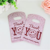 Wholesale thank plastic bags - Wholesale- Hot Sale New Design Wholesale 50pcs lot 9*15cm Good Quality Mini Thank You Gift Bags Small Plastic Shopping Packaging Bags