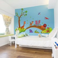 3D Cartoon Jungle Wild Animal Tree Bridge Lion Jirafa Elefante Pájaros Flores Pegatinas de Pared Para Niños Sala de estar Decoración Del Hogar