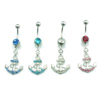 New Fashion Omble Anel Cirúrgico Aço Inoxidável Dangle Delicate Rhinestone Anchor Belly Button Rings