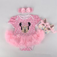 Wholesale Dress Girl Romper - Baby Girls Halloween Costumes Minnie Mouse Romper Dress + Headband + Shoes Clothing Sets Party Clothes Cartoon Free Ship