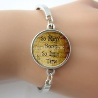 Wholesale Vintage Book Charms - 'So Many Books So Little Time',Letters Quote Bangle Jewelry For Book Lovers,Vintage Picture Art Word bracelet For Gift G018