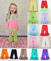 Wholesale Charm Leggings - DHL Fedex 40 color Charming girls Double Ruffle Pants Solids Ruffles pants leggings 20pcs lot