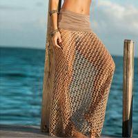 Wholesale Skirt Swimsuits Sexy - Summer Knit Beach Long Skirt Wear Mesh Swimsuit Cover Up Crochet Bikini Cover Ups Sexy Womens Maxi Skirt free shipping