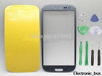 Wholesale S3 Glass Cable - Wholesale-Gray Outer touch Screen Glass Lens Replacement for samsung Galaxy S3 SIII i9300 T999 i747 i535 repair parts without flex cable