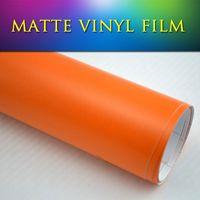 Wholesale Color Self Adhesive Vinyl Film - 5x98ft 1.52x30m quality pvc color film vinyl for car, bubble free self adhesive vinyl matte orange car wrap sticker