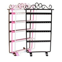 Wholesale Earring Stands - Wholesale-2015 New Hot Sale Fashion 4 Colors 48 Hole Earrings Jewelry Display Rack Metal Stand Holder Showcase Free Shipping&Wholesale