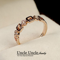 Wholesale Office Filling - Simple Style Rose Gold Color Geometric Element Rhinestone Classic Office Lady Finger Ring Wholesale 18krgp Stamp