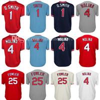 Wholesale Molina Baseball - Men's 4 Yadier Molina 1 Ozzie Smith Baseball Jersey Adult 25 Dexter Fowler Retro Jerseys Embroidery 100% Stitched