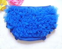 Wholesale Cheap Diapers Wholesale - Petti Royal Blue Baby Ruffle Cute Chiffon Girls Bloomer Cotton Baby Girls Diaper Cover Cheap Underwear 5pcs lot