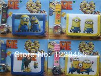 Wholesale Despicable Watches Wallet - Wholesale-Cartoon Despicable Me Mark the Minion watches and wallet sets with gift box Free shipping Wholesale 20 set