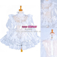 Wholesale White Lace Uniform - Hot Sell Custom Made Sexy Sissy Maid Dress Lockable Transparent White Lace Uniform Cosplay Party Halloween